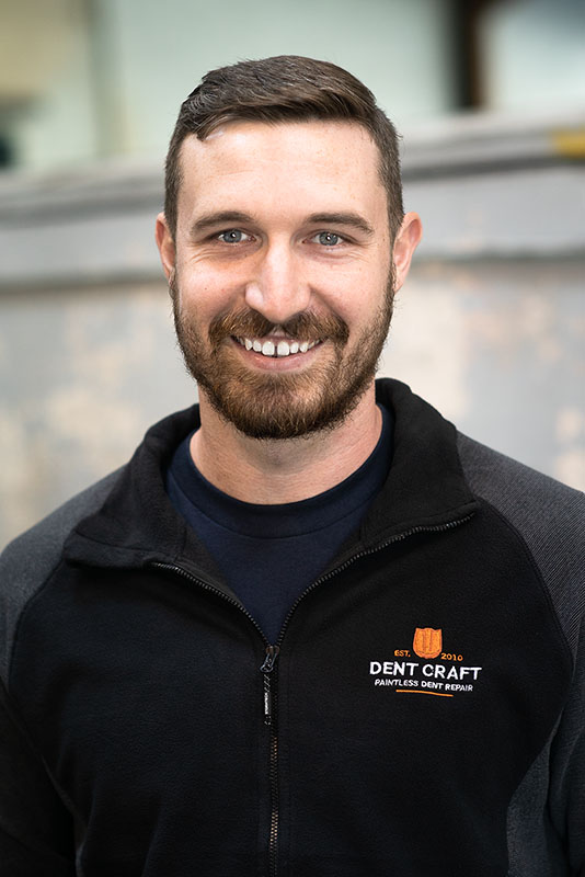 ERIC Mcgill - Eric joined Dent Craft in 2016. He was very interested in the paintless dent repair business and was practicing on a hood before he started training with Dent Craft. Originally from Ontario, Eric has picked up dent repair very quickly and has shown a great deal of mastery in a short period of time. He loves spending his time in the outdoors and practices snowboarding, back country skiing, rock climbing, camping, and hockey.