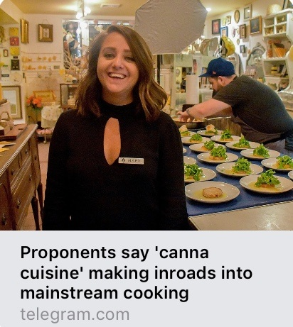 "Proponents say ""canna cuisine"" making inroads into mainstream cooking Worcester Gazette and Telegram 10.01.19"