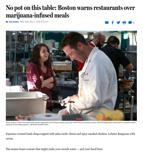 No Pot On This Table. Boston Warns Restaurants Over Maijuana Infused Meals - BOSTON GLOBE 5.17.19