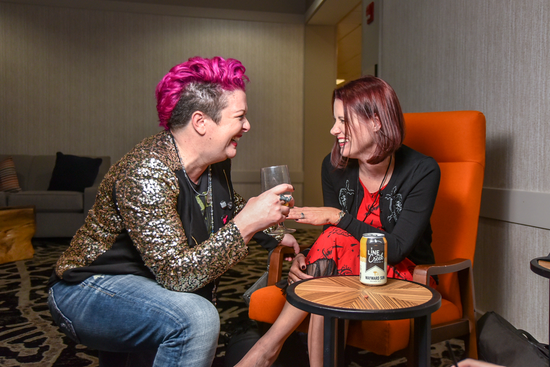 Vanessa Ionta Wright (left) and Melissa Dewey (right) chat horror at WIHFF '18.