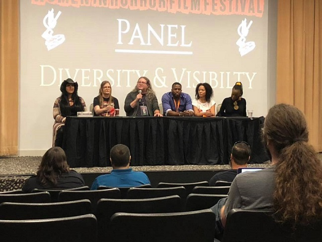 Women in Horror Film Festival 2018 Diversity & Visibility Panel  Pictured (left to right): Mylo Carbia, Stacey Palmer, Waylon Jordan, Brian Ashton Smith, Melissa Kunnap, Trina Parks