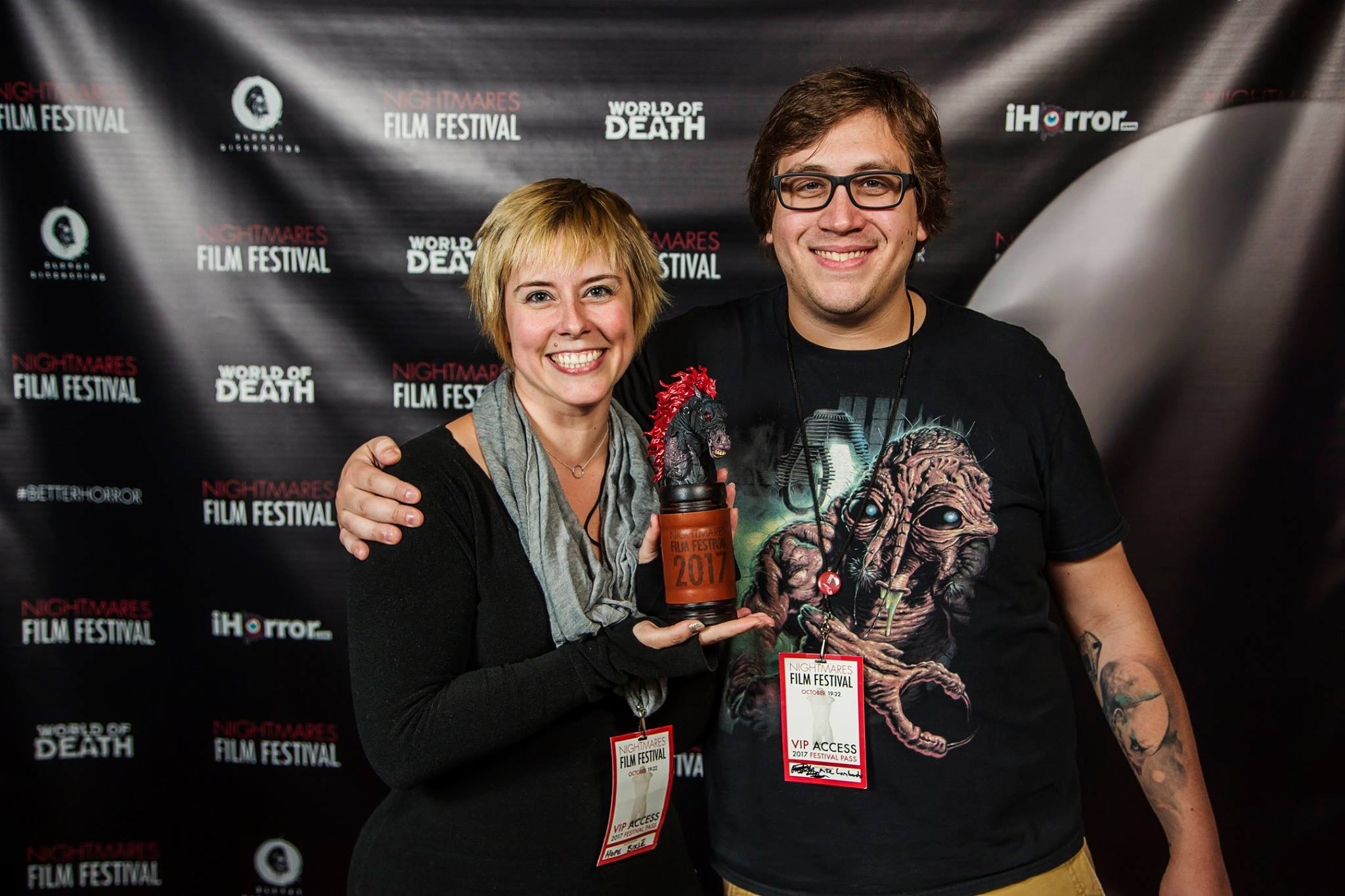 Hope Bikle (left) and Mike Lombardo (right) at Nightmares Film Festival 2017
