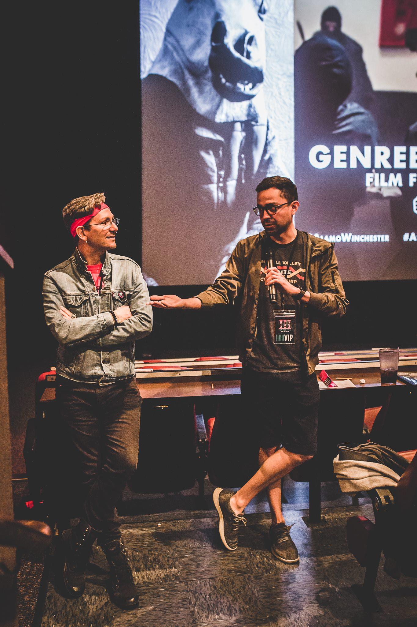 Filmmakers Saba (left) and Eliaz Rodriguez (right) chat between screenings at GenreBlast 2018.