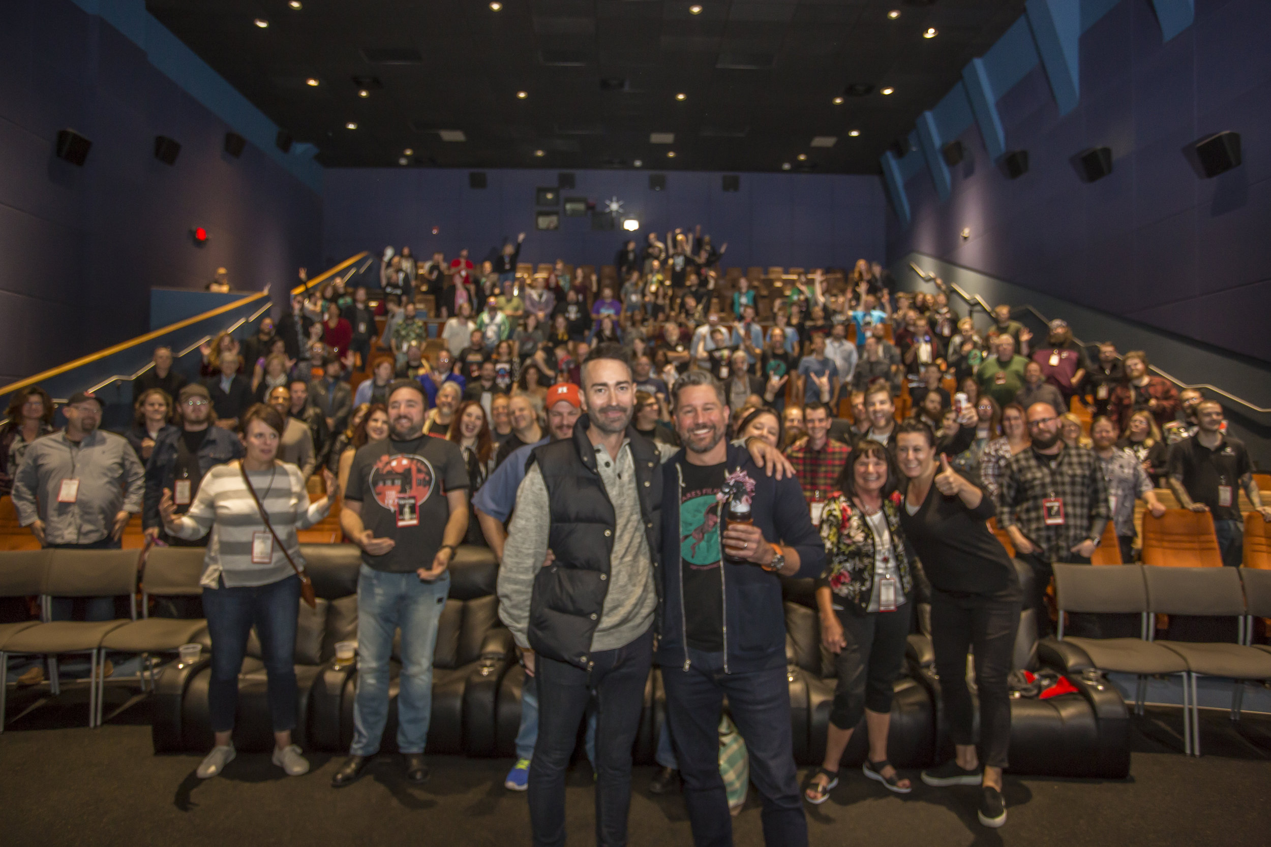 Pictured: Chris Hamel (front, left) and Jason Tostevin (front, right) with the Nightmares Film Festival crowd