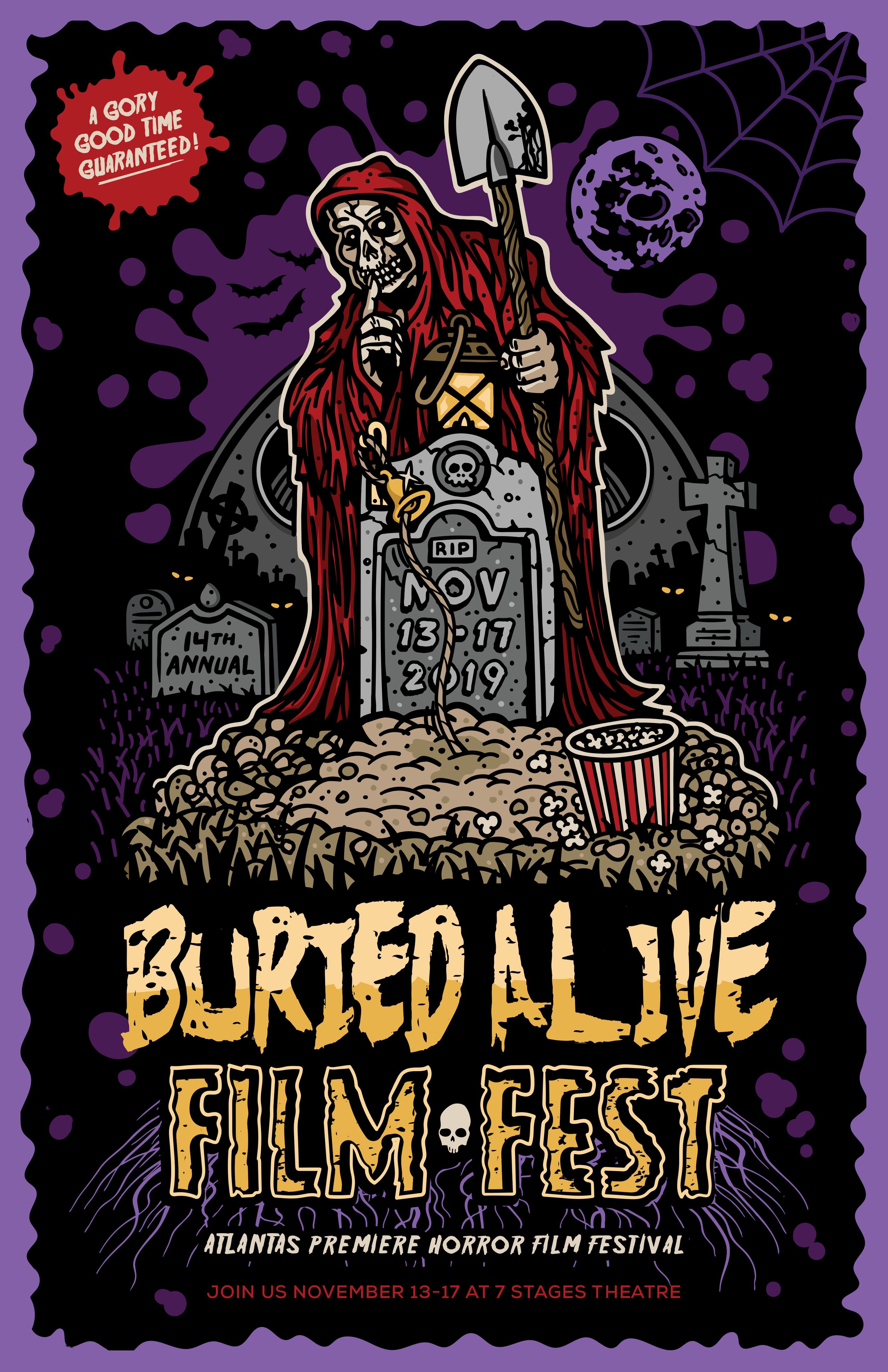 Buried Alive Film Festival 2019 Poster | Artist: Matt Albert