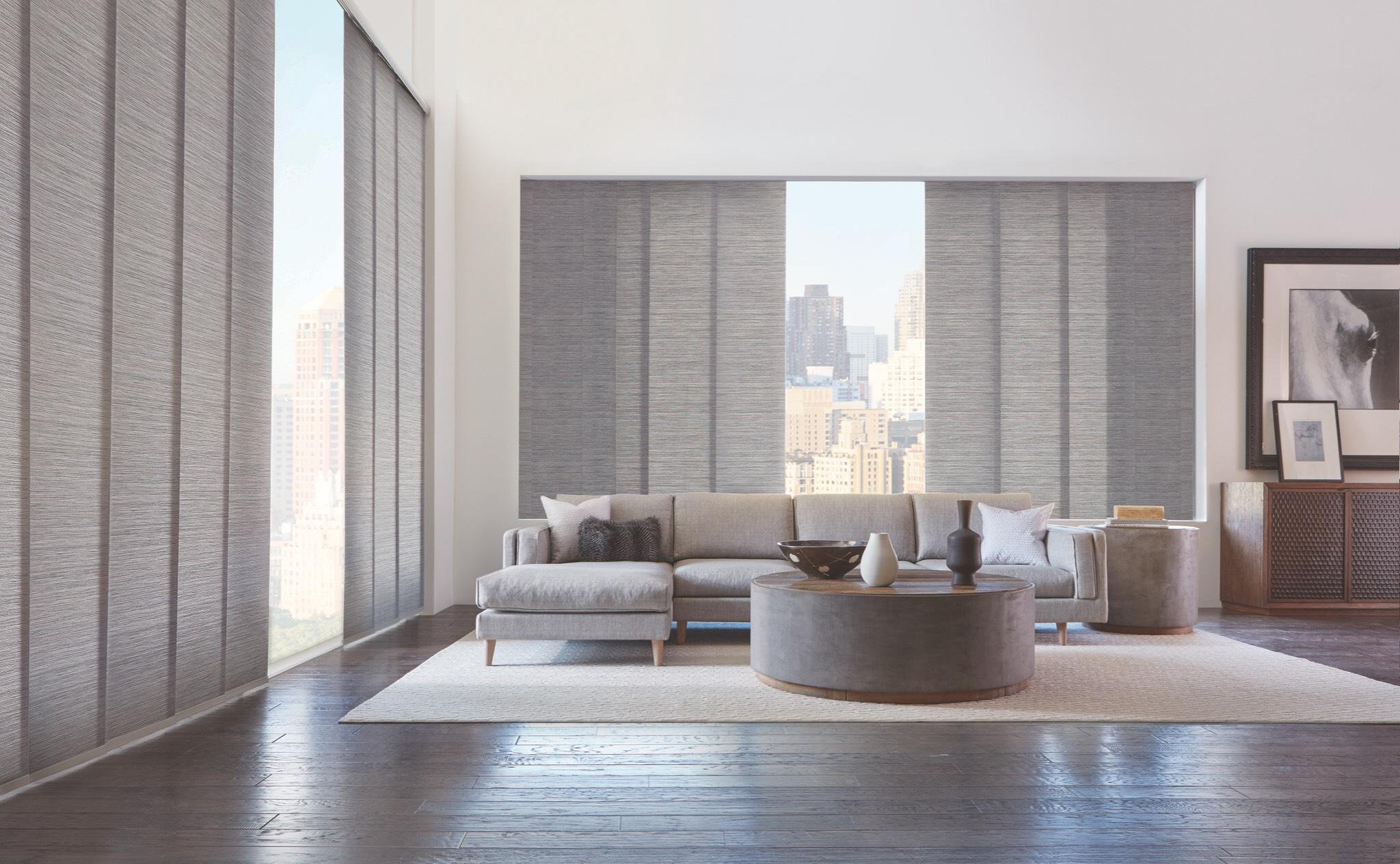 Hunter Douglas gray living room
