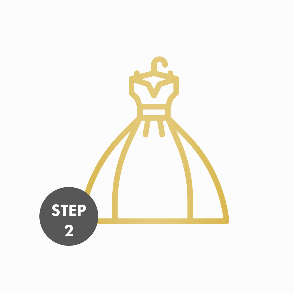 Meet with a Senior Stylist - During your appointment, you will try on and select your silhouette, you can add sleeves, change bodice, change color, change the silhouette, switch laces, your choices are endless