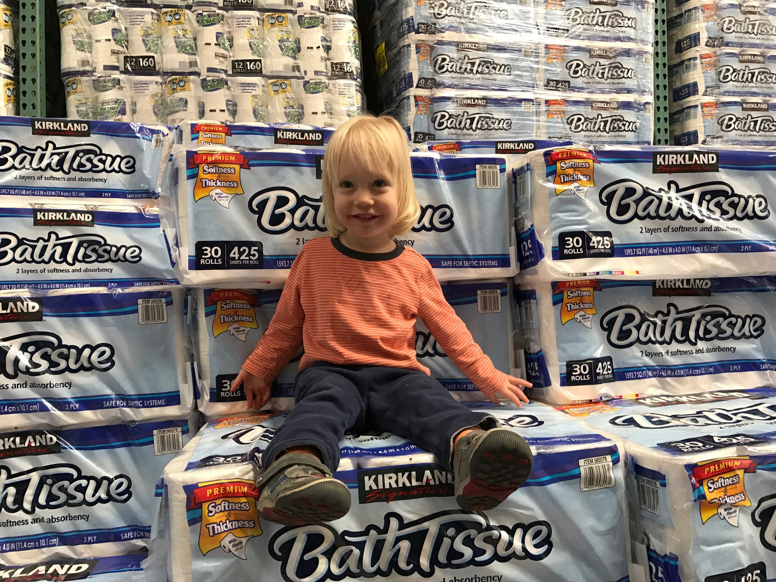 Julian, age 2, shopping for Toilet Paper at Costco