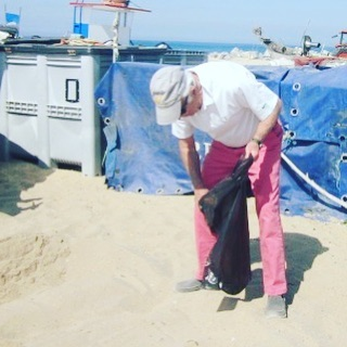 This is my 76 year-old father, doing a plastics beach cleanup in Portugal on their trip! Yeah, Dad! His greatest love has always been the majestic power, beauty, and mystery of water. Love seeing him in action working to protect it!