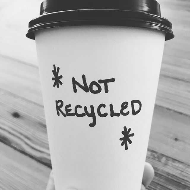 """For years and years, I'd get coffee """"to-go"""" and assume that when I tossed a cup that looked like this into the recycling bin, that it would be recycled and that recycling was a great option! Well, not so, sadly. Practically every """"paper"""" to-go cup is lined with a petroleum based polyethylene coating - aka, plastic, which doesn't get recycled, biodegrade, or compost. Imagine millions and millions and millions per day getting tossed. Even if restaurants have a contract with a local composting facility, chances are, these cups travel, don't go to a composting facility, and wind up in the landfill. The lids are also plastic. So... that's the bad news around our collective to-go habit. * The good news = this is SUCH an easy swap!!! Make a change today, bring your own cup, and know that you're doing something positive for the earth and all creatures large and small, humans included! Chances are, you'll also be rewarded with a discount!"""