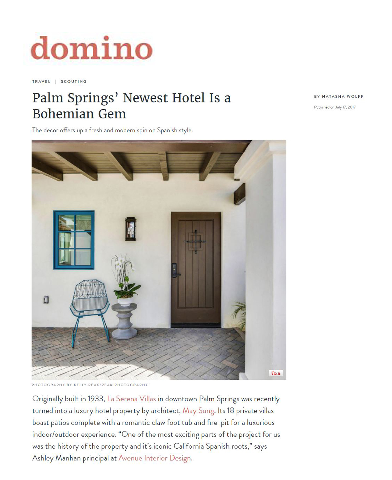 DOMINO - JULY 17, 2017 - PALM SPRINGS' NEWEST HOTEL IS A BOHEMIAN GEM
