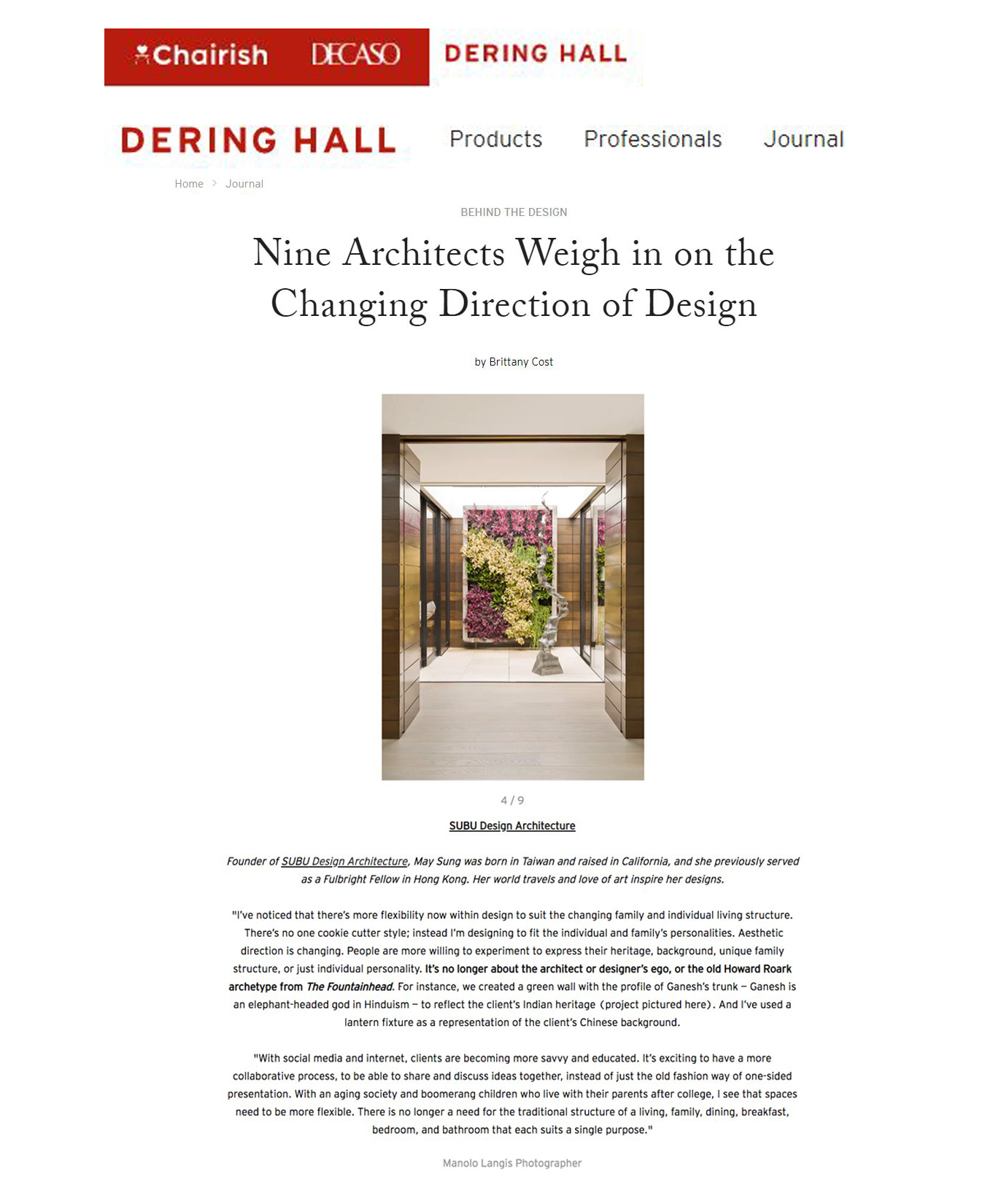 dering hall - JANUARY 2019 - NINE ARCHITECTS WEIGH IN ON THE CHANGING DIRECTION OF DESIGN