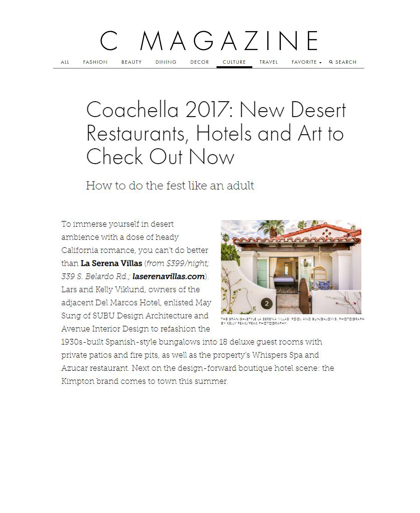 C magazine - APRIL 2017 - COACHELLA 2017: NEW DESERT RESTAURANTS,HOTELS, AND ART TO CHECK OUT NOW - HOW TO DO THE FEST LIKE AN ADULT