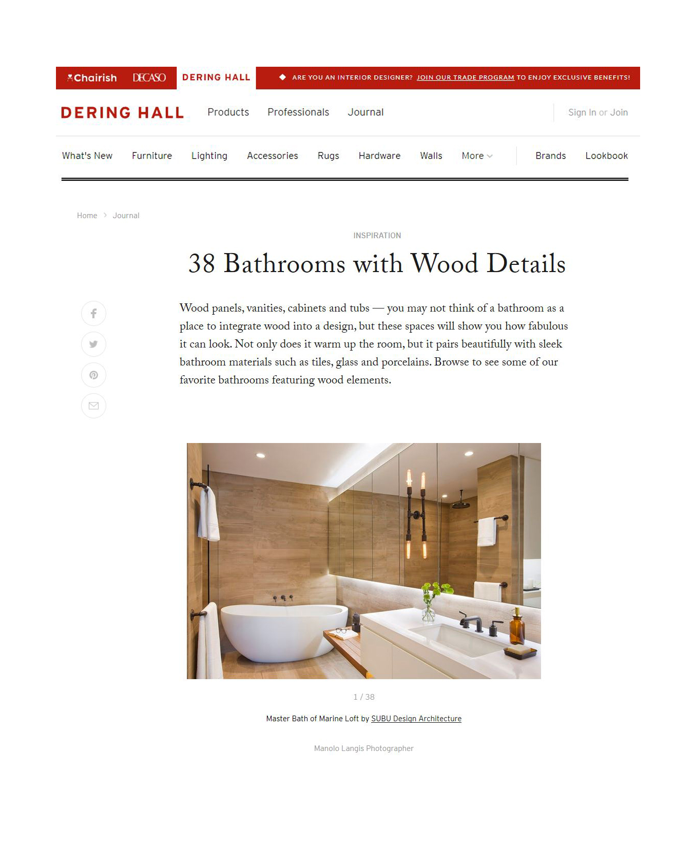 dering hall - SEPTEMBER 19, 2018 - 38 BATHROOMS WITH WOOD DETAILS