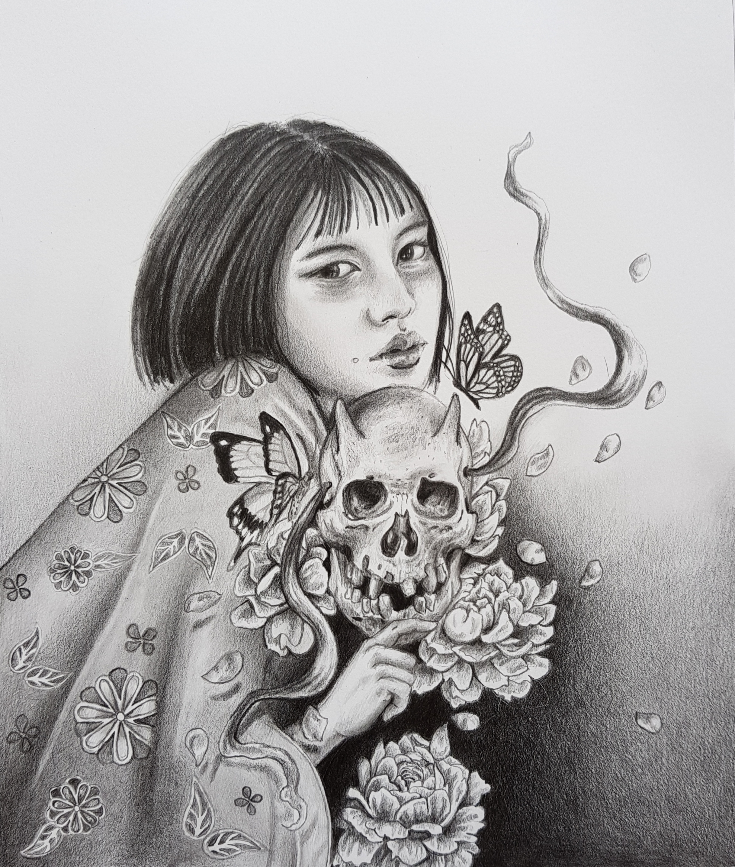 'Flower Your Demons' 2018  Graphite on Bristol