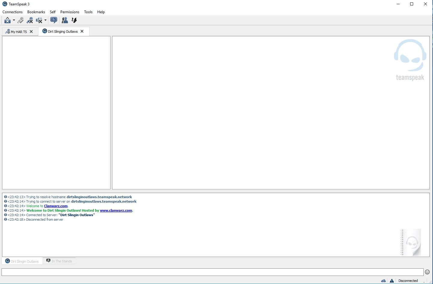 Teamspeak Initially Opened, The tabs should say new tab.