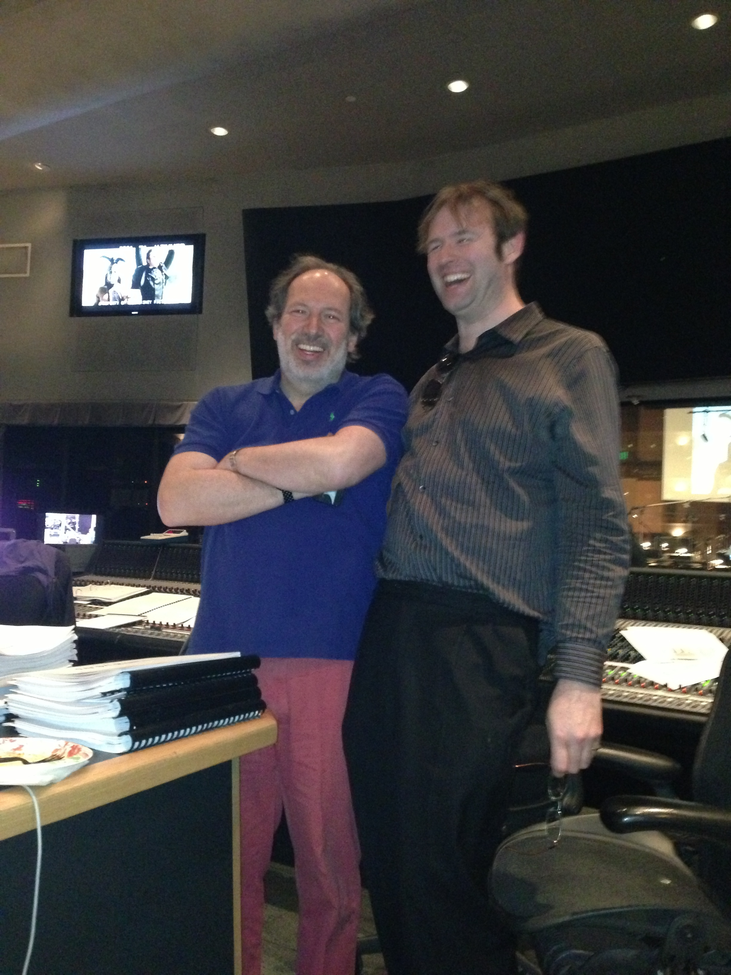 "Hans Zimmer & Kaska During ""Lone Ranger"" Session at Sony"