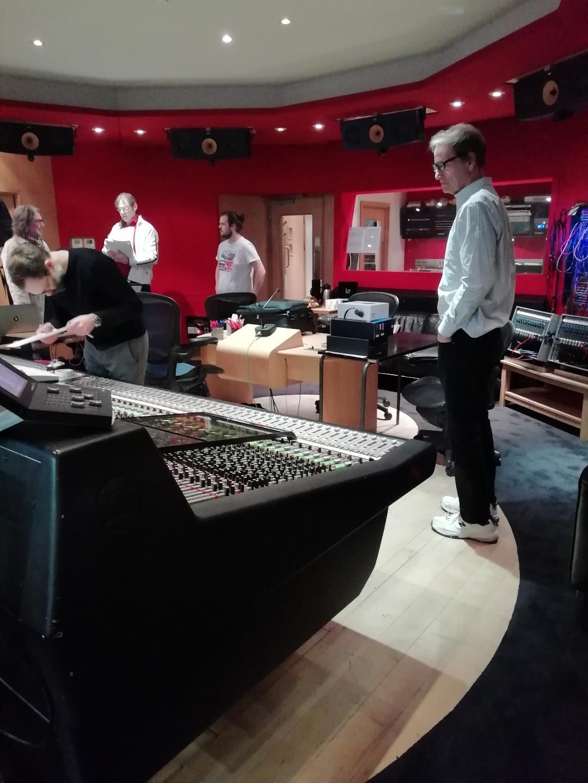 Kaska with Grammy winningengineer Allen Sides in Booth of Abbey Road
