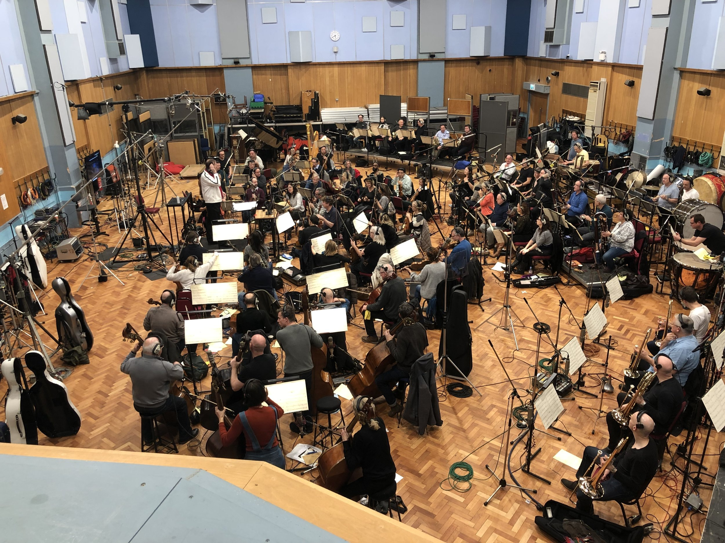 """Kaska conducting at Abbey Road on the film """"The Missing Link"""""""