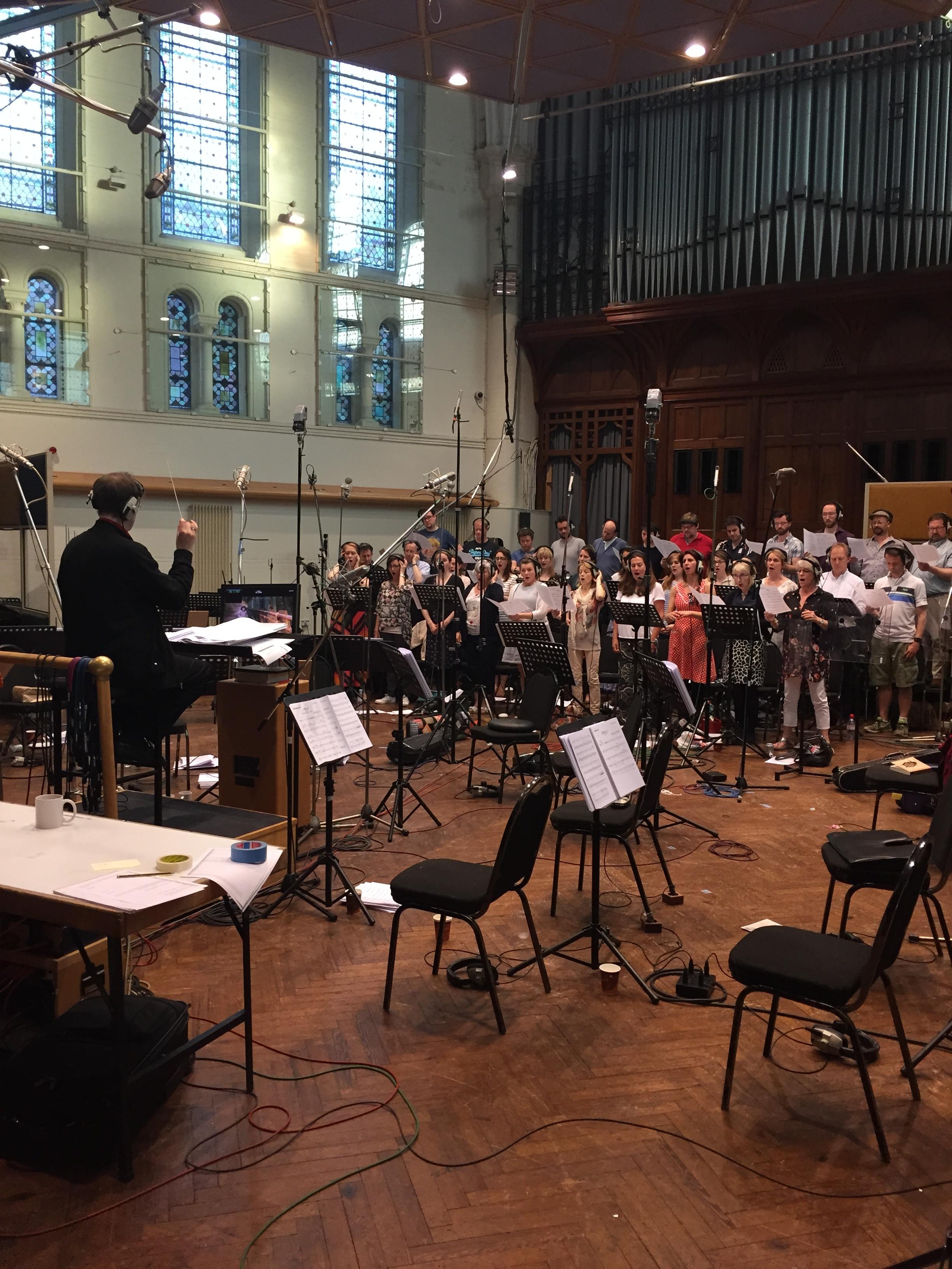 Kaska Conducting a Choir at Air Studios