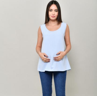 Blue sleeveless striped top