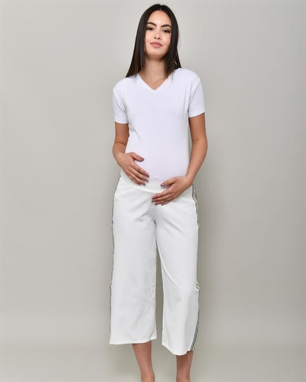 White relaxed side striped pants