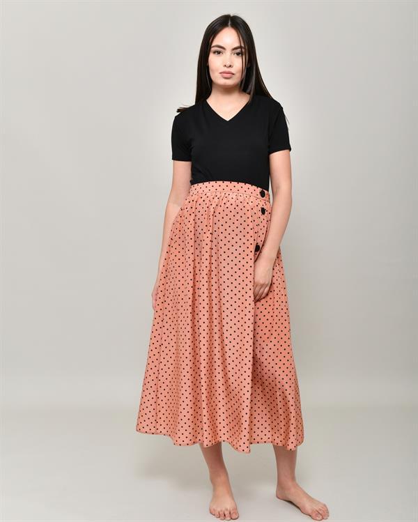 Dotted midi orange skirt
