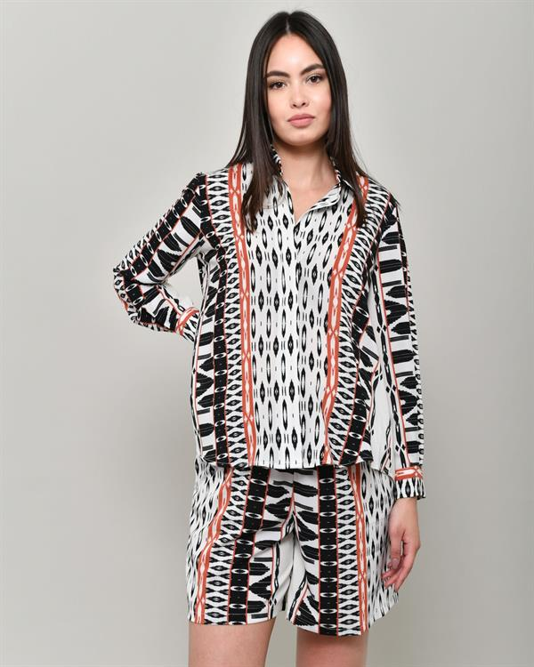 Ethnic print short and shirt set