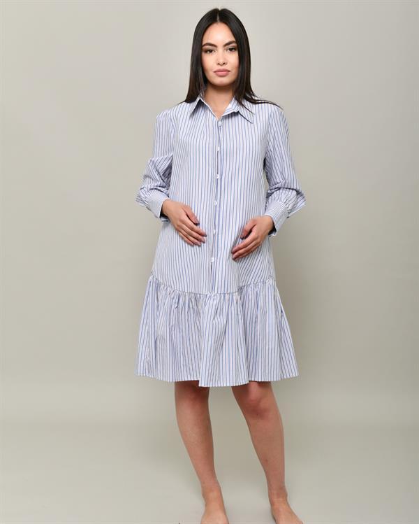 Striped blue shirt dress