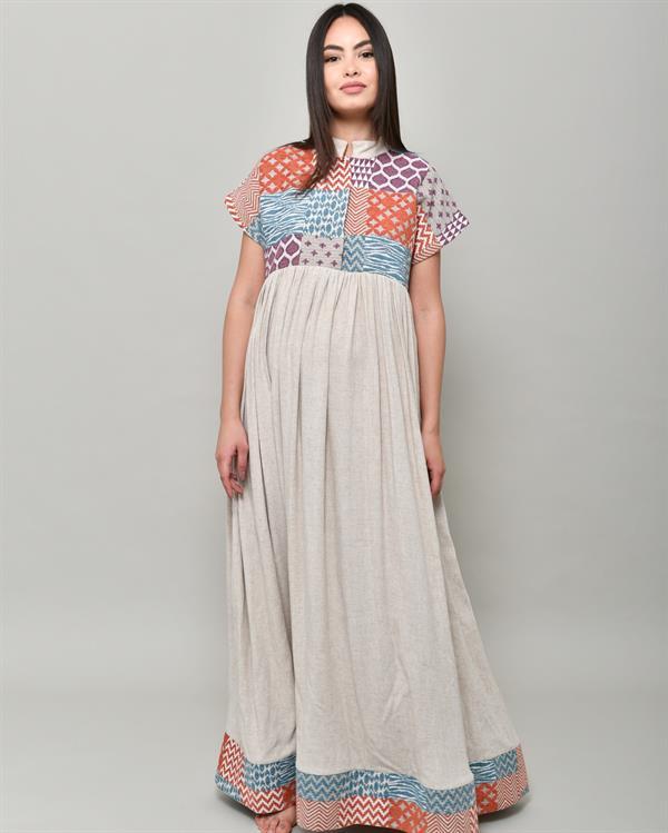 Multicolored maxi beige abaya dress