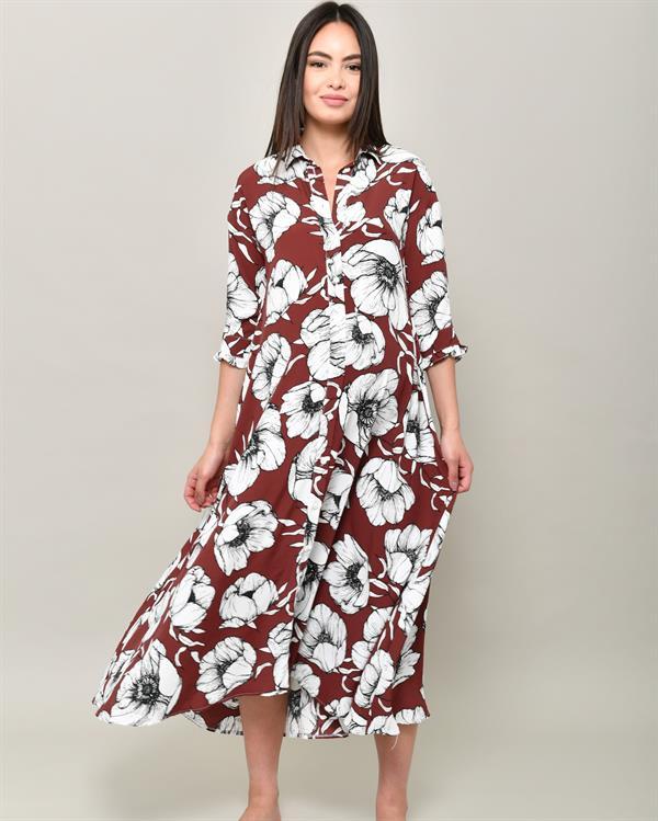 Floral burgundy shirt dress