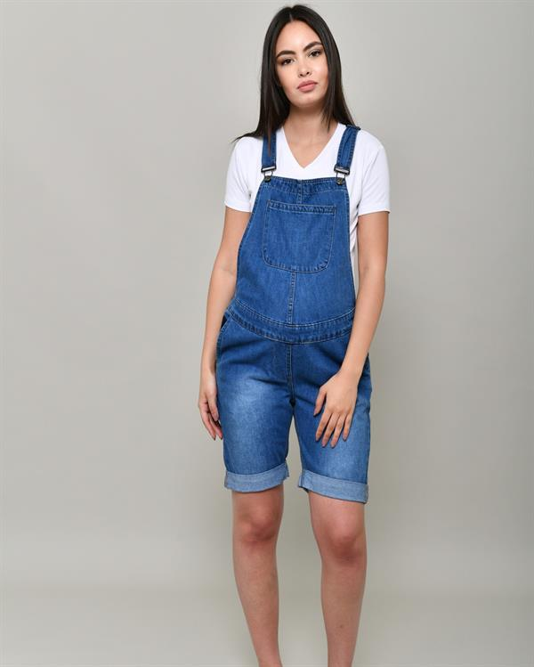 Blue denim shorts dungaree