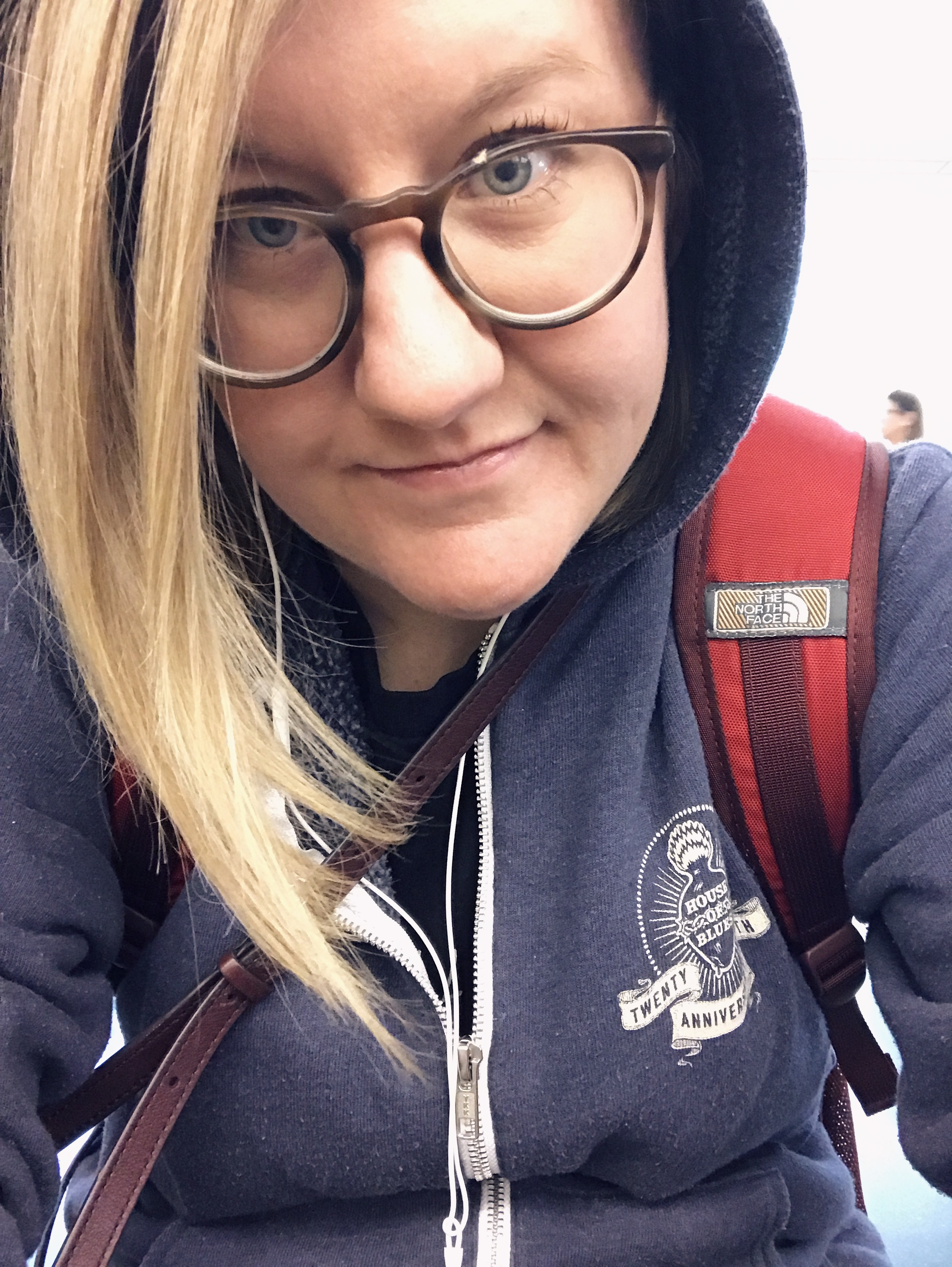 Embracing my full emo, no filter self whilst at the airport, carrying J.R. around.