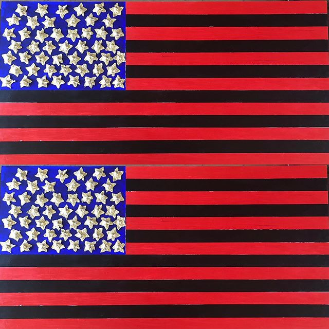 """Flags are on my mind. I'll be making a series of flags on wood panel shifting the symbolism found in the United States flag to honor underrepresented groups. This is the first flag in the series.  Here I replaced the white stripes with black to honor the slaves that were used to build our country and economy. The stars are gold and were molded off a descendant of slaves nipples to honor the black women that have been virtually unrecognized for all of their contributions.  They are golden and shine bright despite unequal, unfair and often racist treatment.  This flag is untitled 30"""" x 60"""" on wood panel.  #flags #blackwomen #newsymbols"""