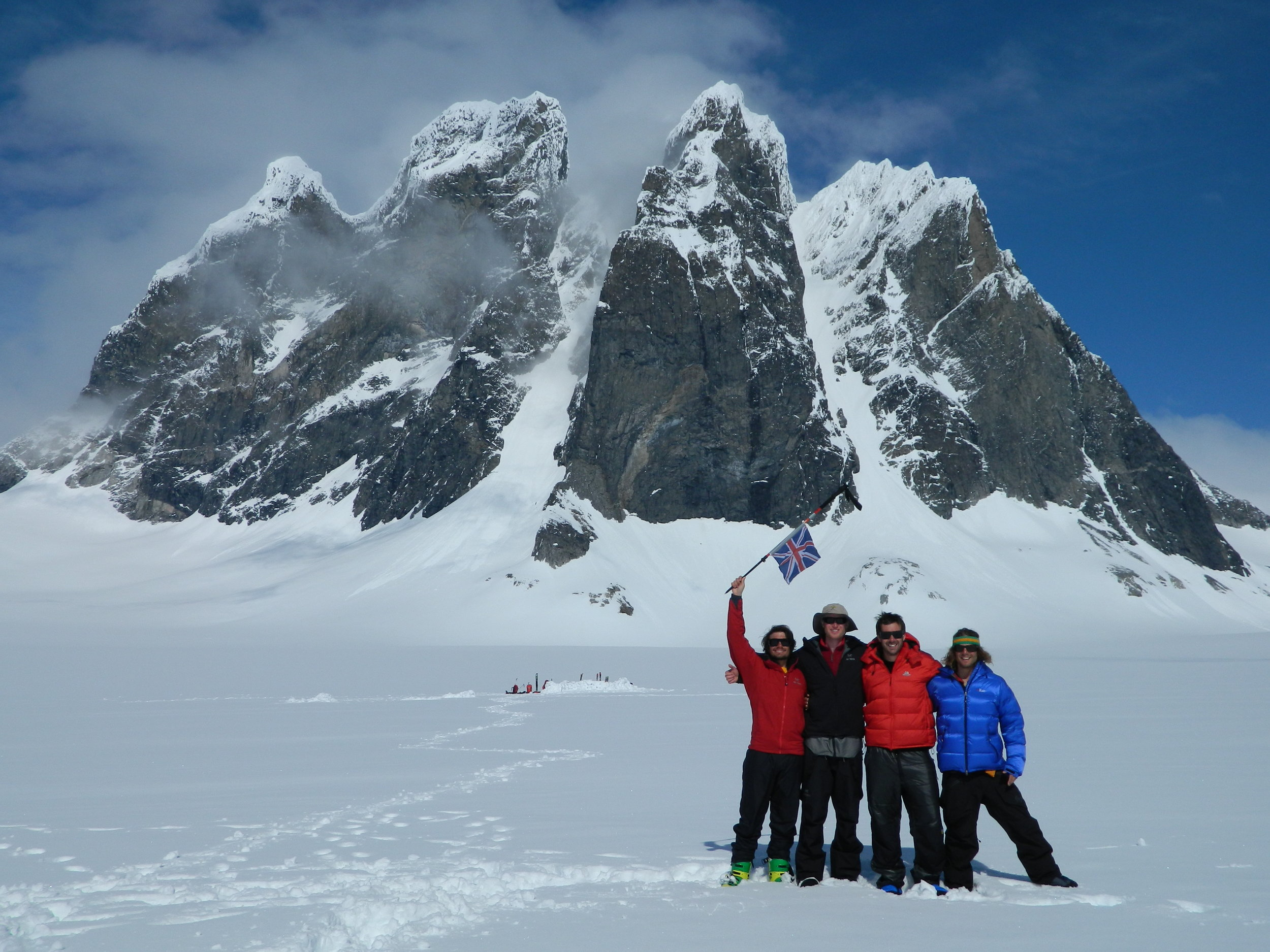 The Team, in front of the West & South West Couloir of Devil's Paw