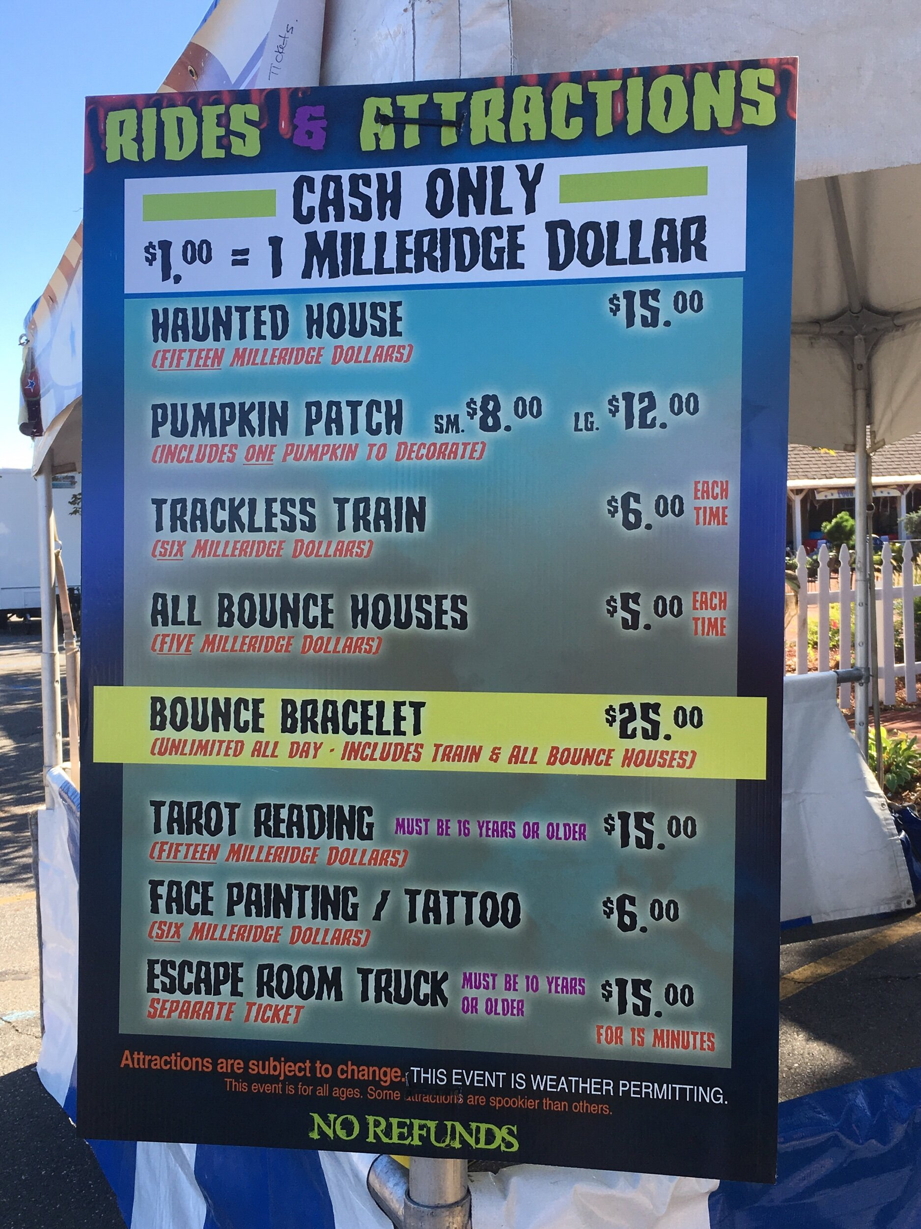 Prices for Halloween Attractions