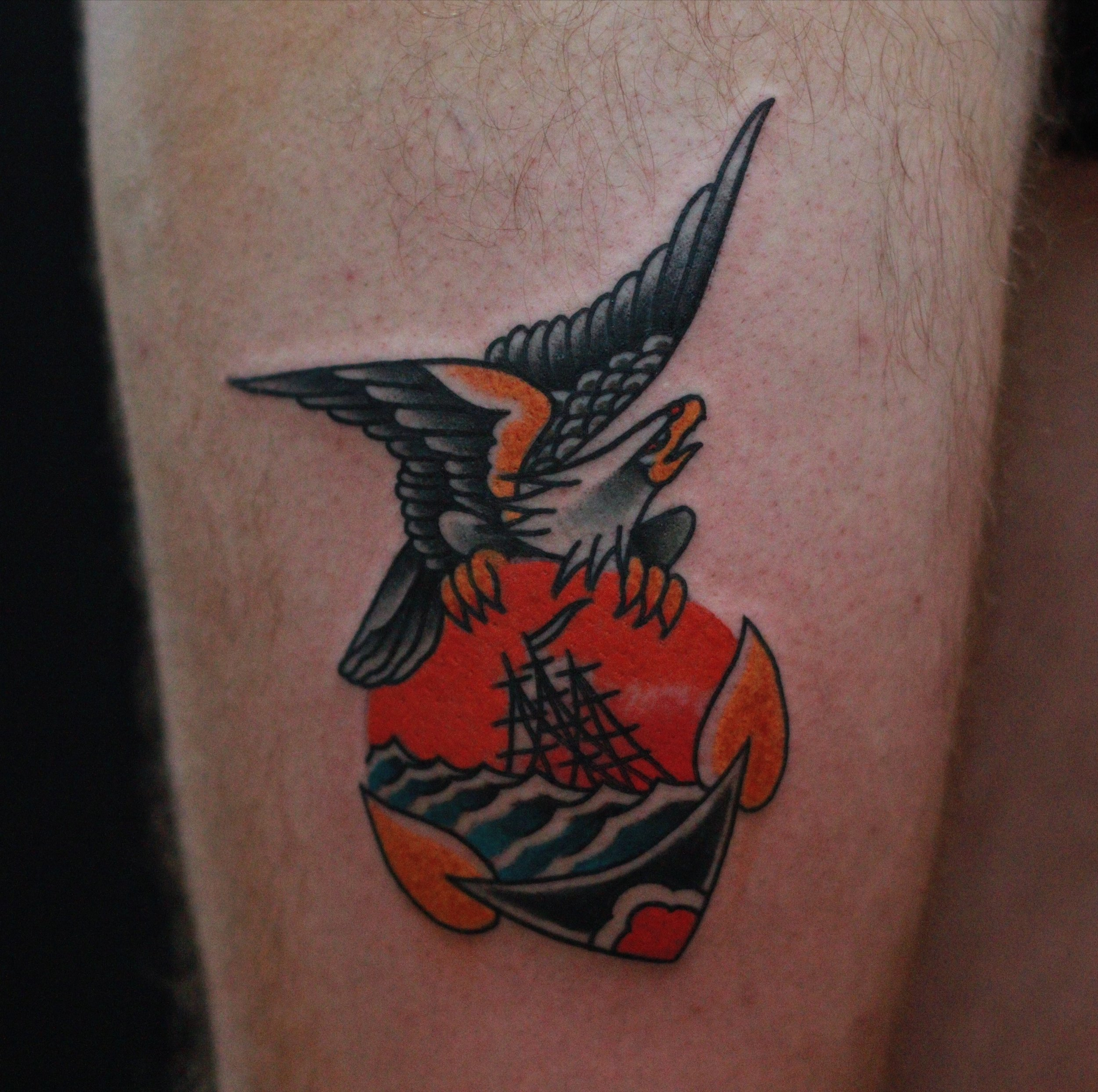 traditional eagle and anchor tattoo