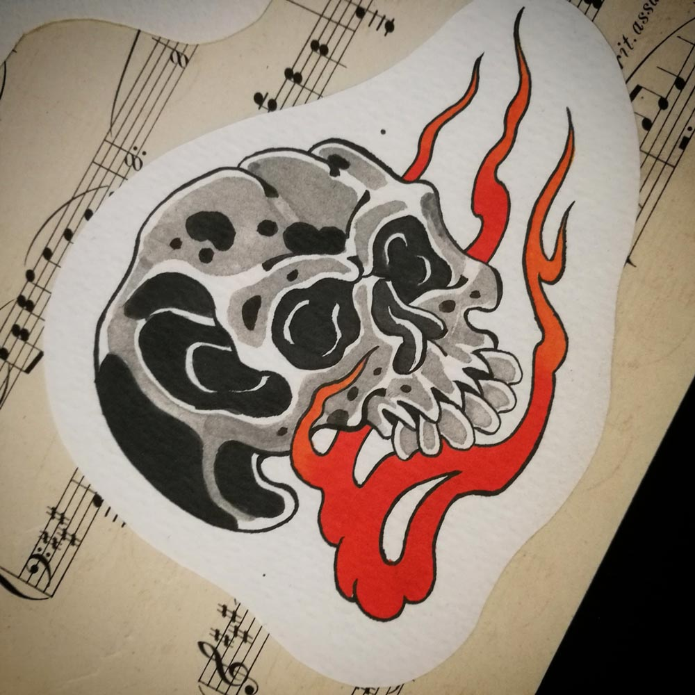 Japanese skull with flames