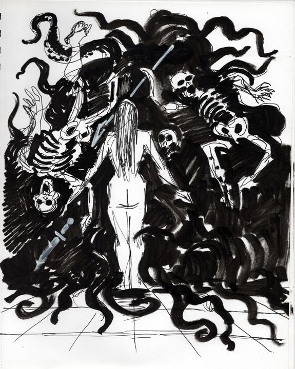 Bride of the Swamp God scratchboard illustration kurt brugel pulp sword and sorcery sketch.jpg