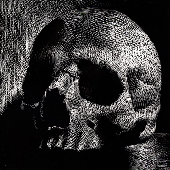 kurt brugel scratchboard book illustrator Skull 07.jpg