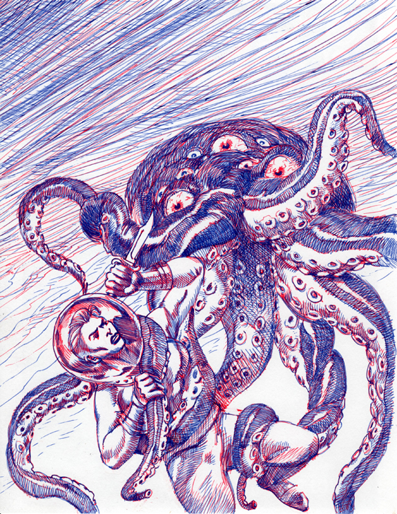 She's A Monster Weird Thrillers comic alter kurt brugel ballpoint pens.jpg