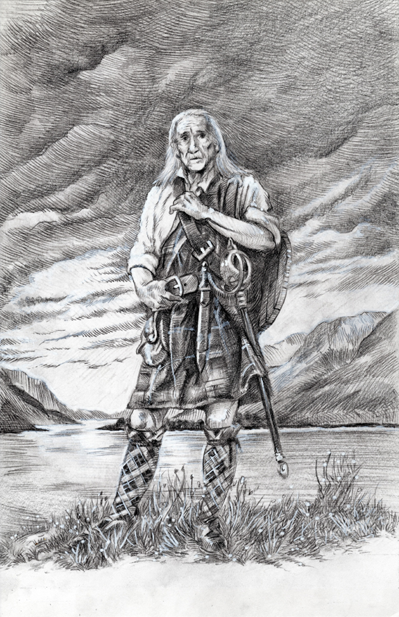 Bob Cameron Braveheart Highlander portrait commission preliminary pencil kurt brugel.jpg