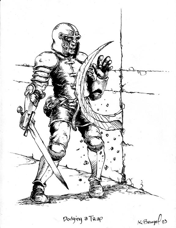 Tombs RPG illustration Dodging a Trap inks.jpg