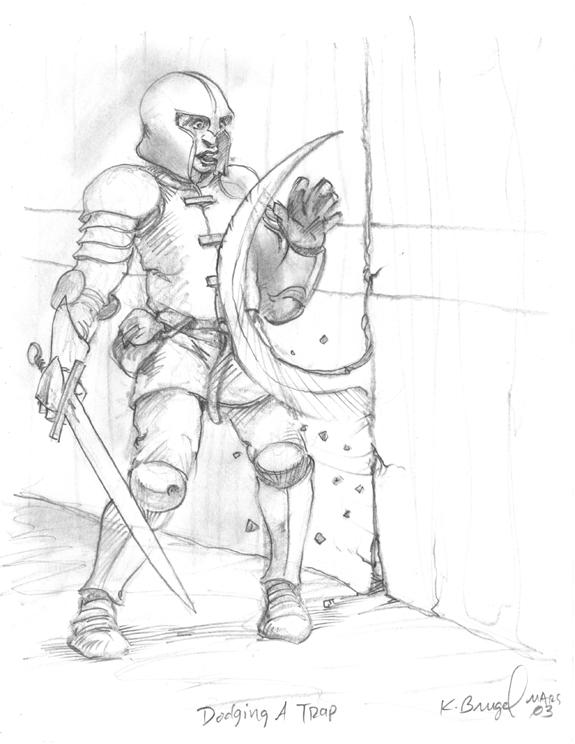 Tombs RPG illustration Dodging a Trap pencils.jpg