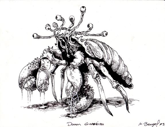 Tombs RPG illustration Doom Guardian inks.jpg