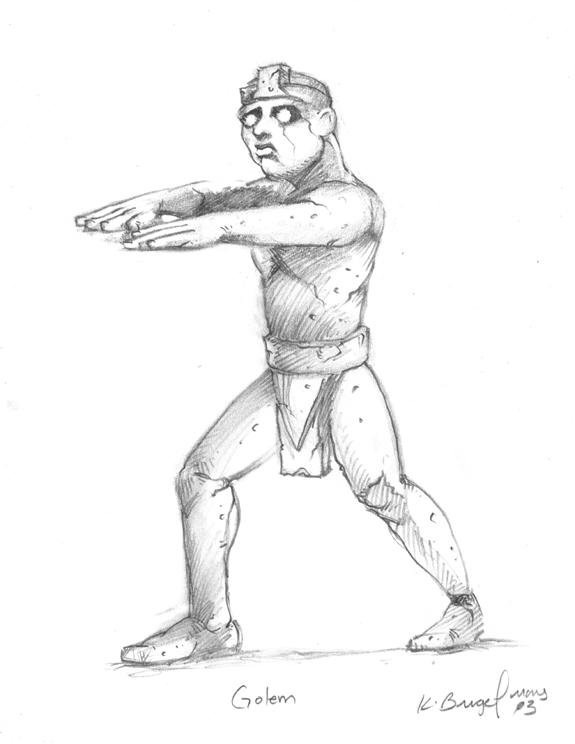 Tombs RPG illustration Stone Golem pencils.jpg