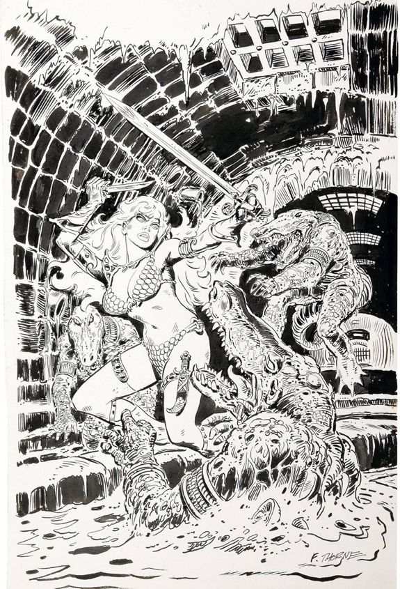 Marvel_Feature_6 Red Sonja Frank Thorne cover BW.jpg