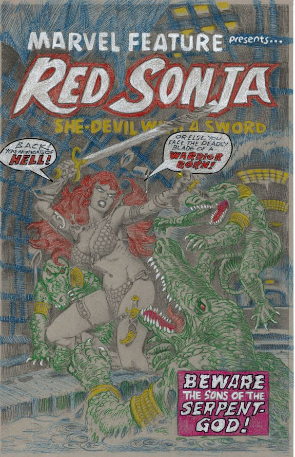 Marvel Feature 6 FrankThorne Red Sonja color pencils 01.jpg