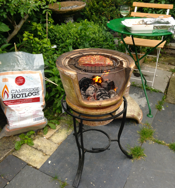 Goose Skirt Grilling on the Clay Pizza Chimenea