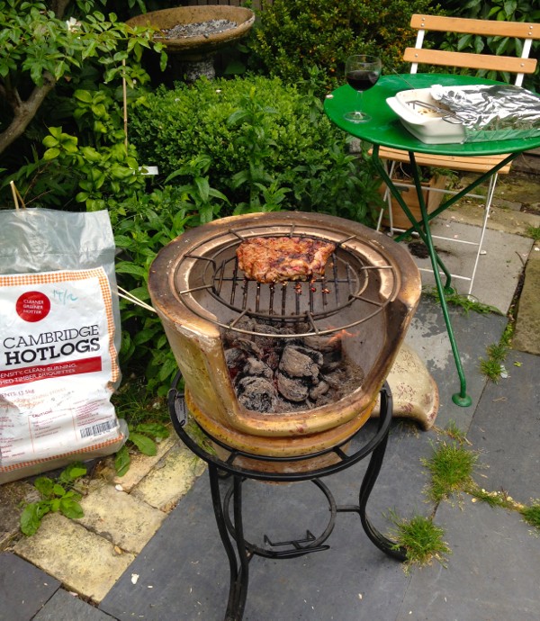Goose Skirt grilled over Cambridge Hotlogs on the Clay Pizza Chimenea